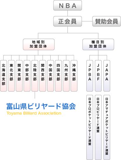 富山県ビリヤード協会組織図